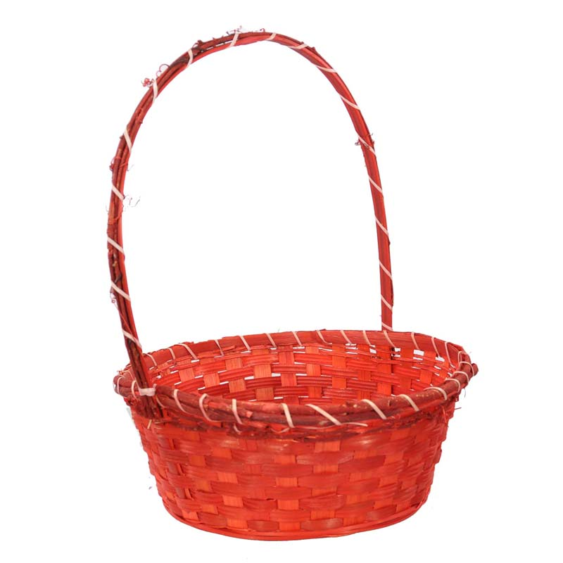Large Bamboo Vine Handle Basket - Red 12in
