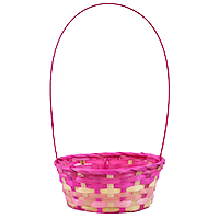 Bamboo Oblong Handle Basket - Pink