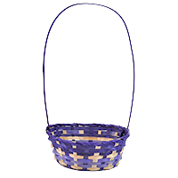 Bamboo Oblong Handle Basket - Purple
