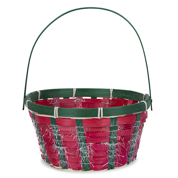 Round Holiday Handle Bamboo Basket with Silver Garland - 7in