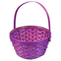 Round Bamboo Handle Basket - Fuchsia