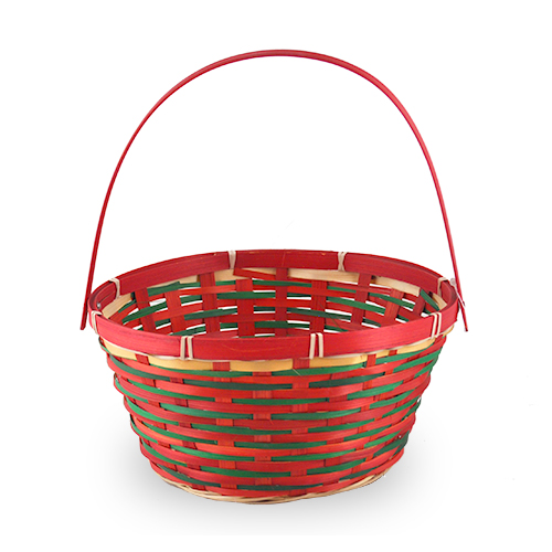 Red Green Round Bamboo Handle Christmas Basket Small The