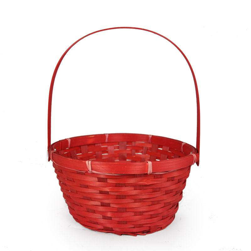 Red Weave Round Handle Bamboo Basket Small The Lucky