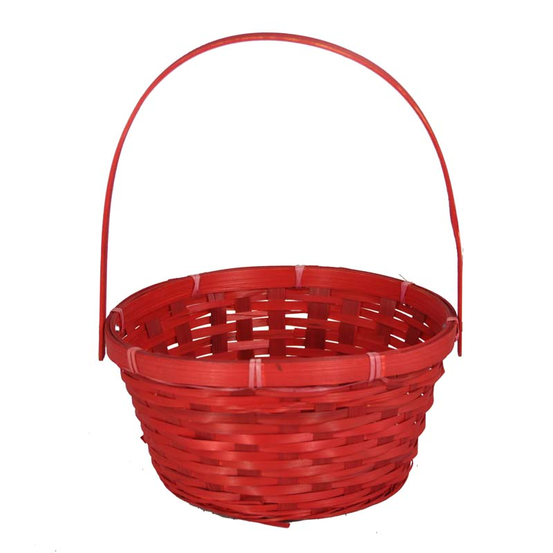 Red Weave Round Handle Basket - Small 8in
