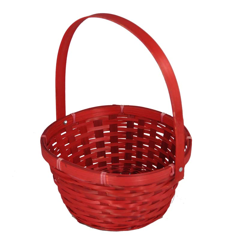 Basket Weaving Handles : Red weave round handle bamboo basket large the lucky