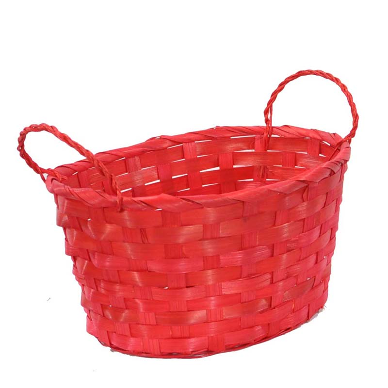 Bamboo Oval Basket - Red 9in