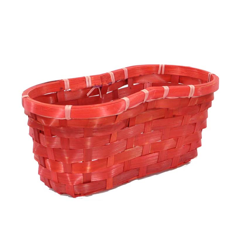 Red Bamboo Peanut Shaped Planter 10in