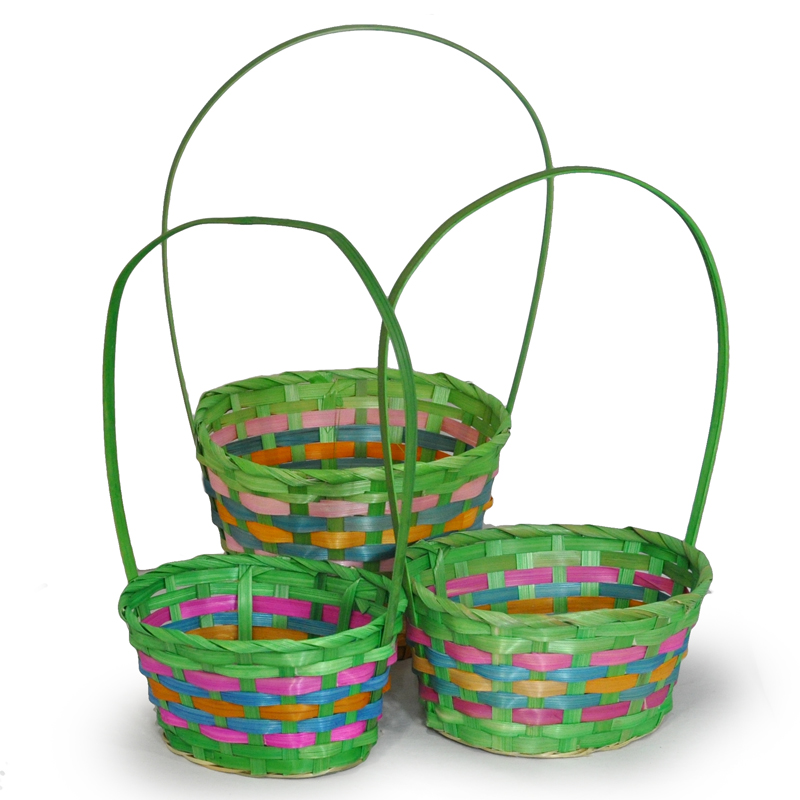 Spring Oval Lime Baskets - Set of Three 8in