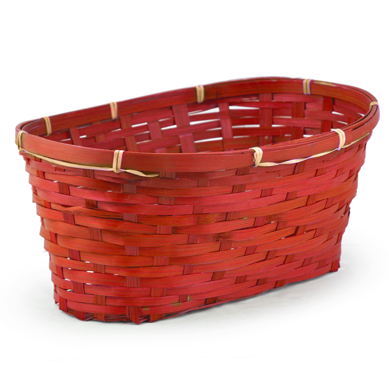 Oblong Bamboo Basket - Red 14in