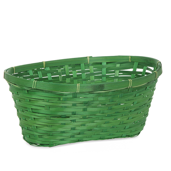 Oblong Bamboo Basket - Green 14in