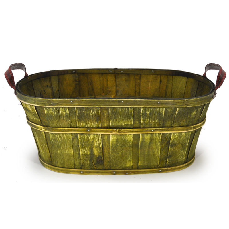 Oblong Woodchip Utility Basket Large - Olive Green 14in