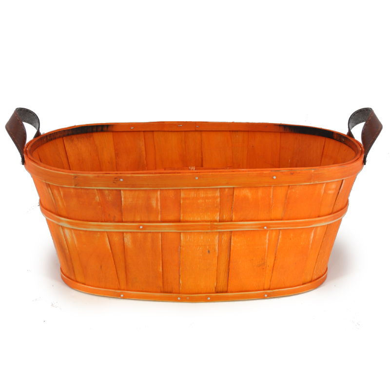 Oblong Woodchip Utility Basket Large - Orange 14in