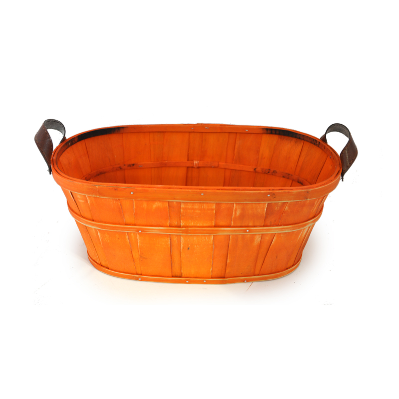 Oblong Woodchip Utility Basket Small - Orange 10in