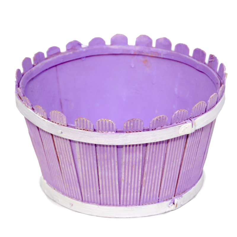 Springtime Picket Fence Round Planter 7in
