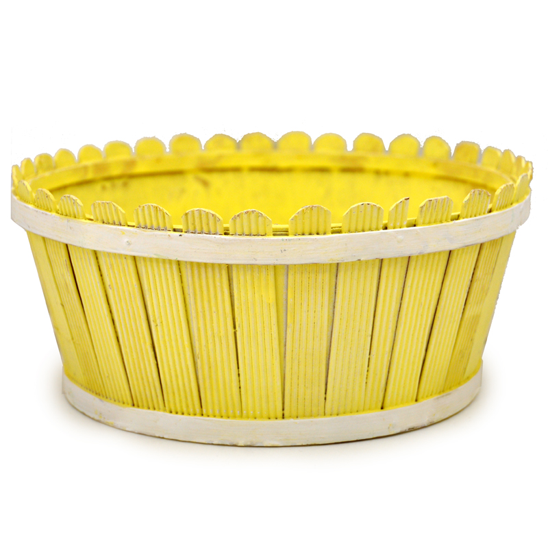 Springtime Picket Fence Round Basket 9in