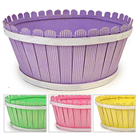 Springtime Picket Fence Round Basket