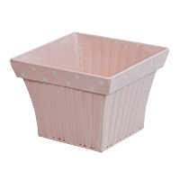 Small Square Fluted with Polka Dot Rim - Light Pink