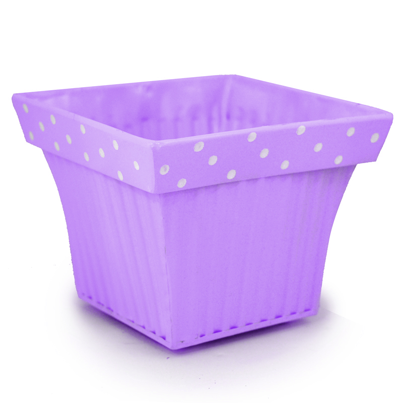 Square Fluted with Polka Dot Rim Small 5in