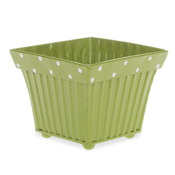 Square Fluted Metal with Polka Dot Rim - Olive Green 6in