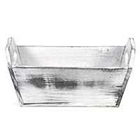 White with Gray Wash Rectangular Wood Tray - Medium