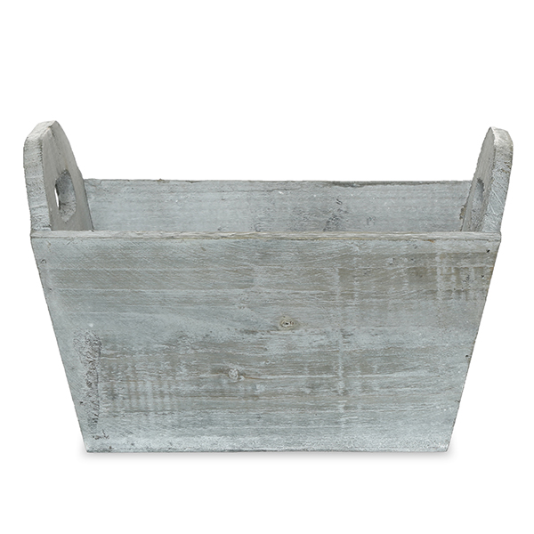 Antique Grey Rectangular Wood Tray 8in
