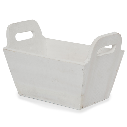 White Rectangular Wood Tray - Small 8in