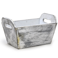 White with Gray Wash Rectangular Wood Tray - Small