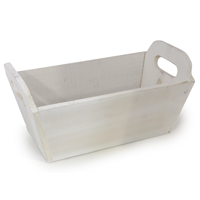 White Rectangular Wood Tray - Medium