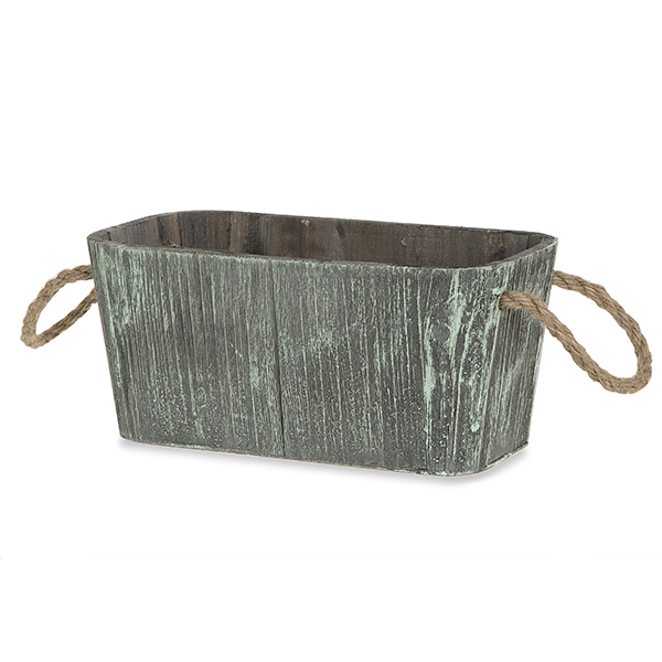 Rect Wood Planter Basket with Round Edges - Large 9in