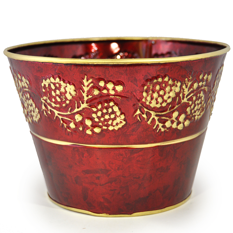 Round Christmas Holly Bucket - Red 7in