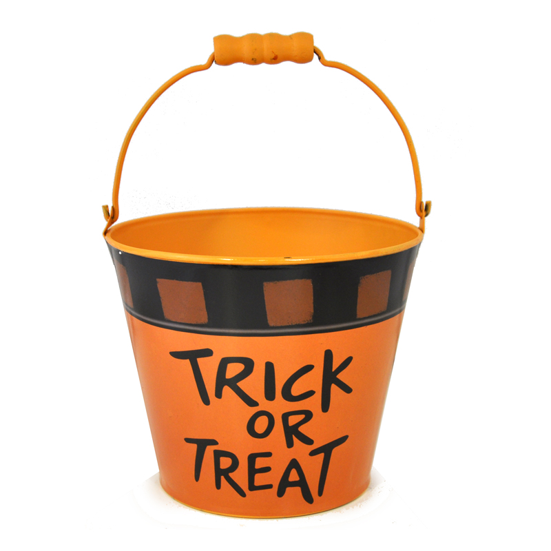 Mini Round Halloween Bucket - Trick or Treat 6in