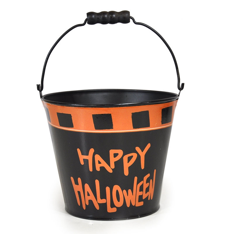 Mini Round Halloween Bucket - Happy Halloween 4in