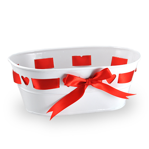 Medium Oblong Heart Design with Ribbon Container 8in