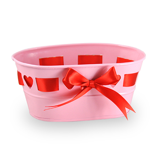 Small Oblong Heart Design with Ribbon Container 7in