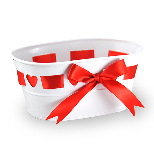 Small Oblong Heart Design with Ribbon Metal Container 7in