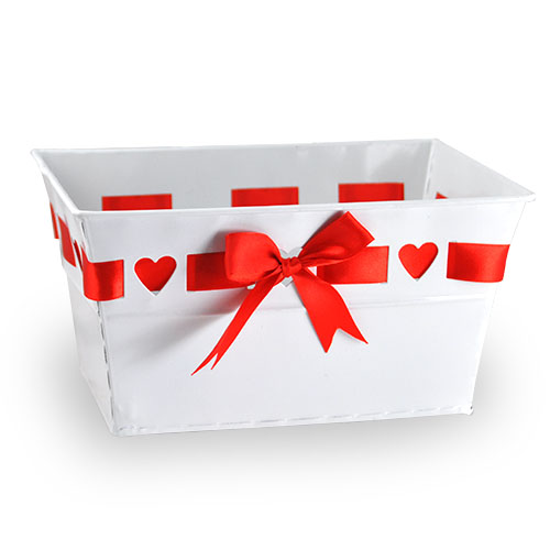Medium Rectangular Heart Design with Ribbon Container 8in