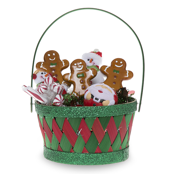 Holiday Woodchip Handle Basket with Green Glitter Trim 7in
