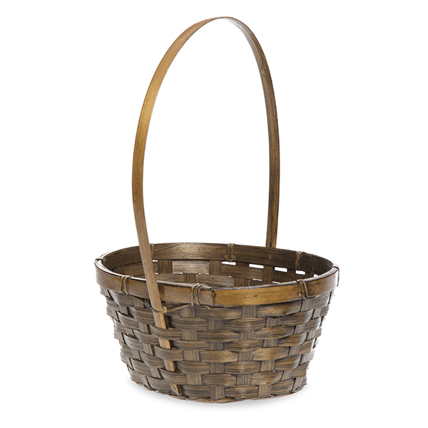 Oblong Brown Stained Bamboo Handle Basket  7in