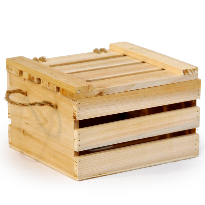 Natural Wooden Crate Storage Box With Lid   Small 7in. Zoom. Thumb Thumb  Thumb ...