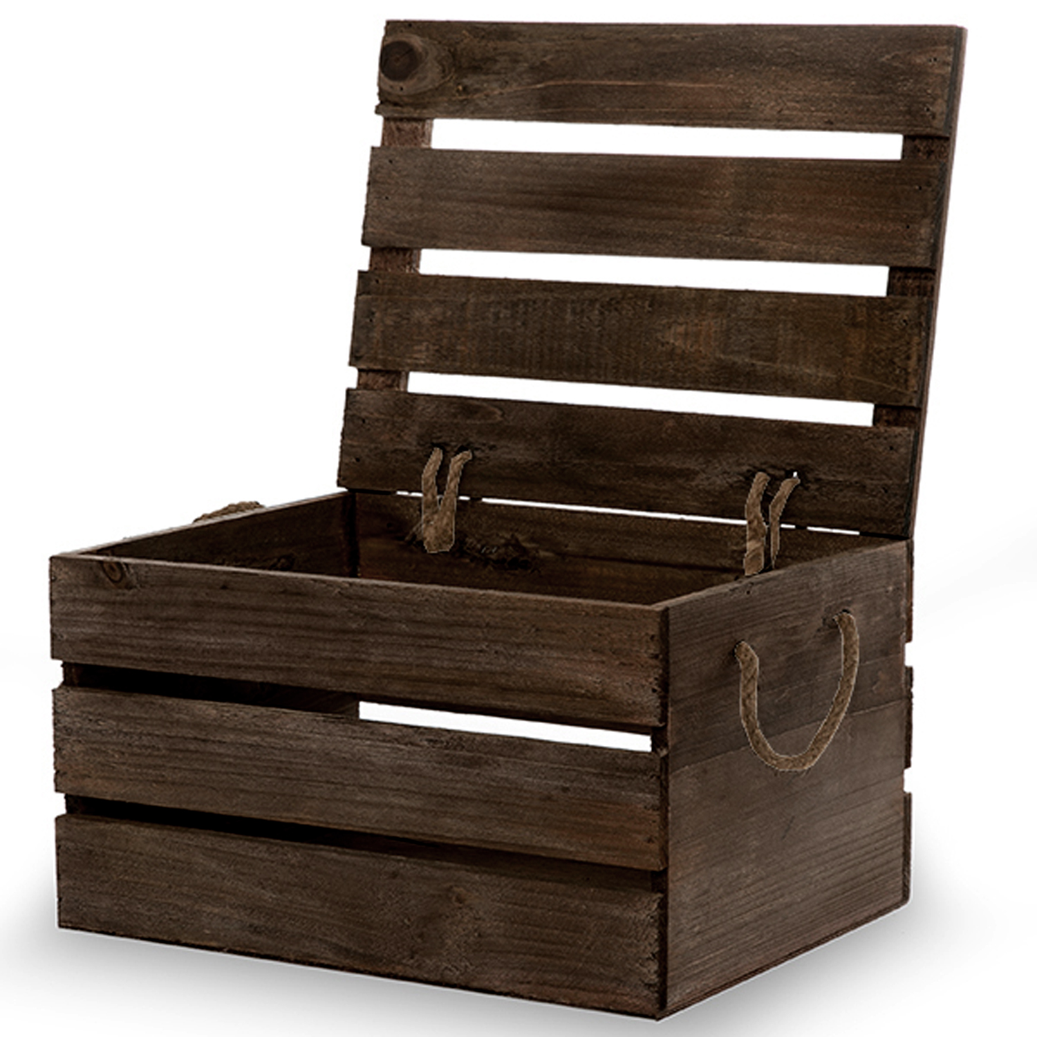 Antique Brown Wooden Crate Storage Box with Lid- Medium ...
