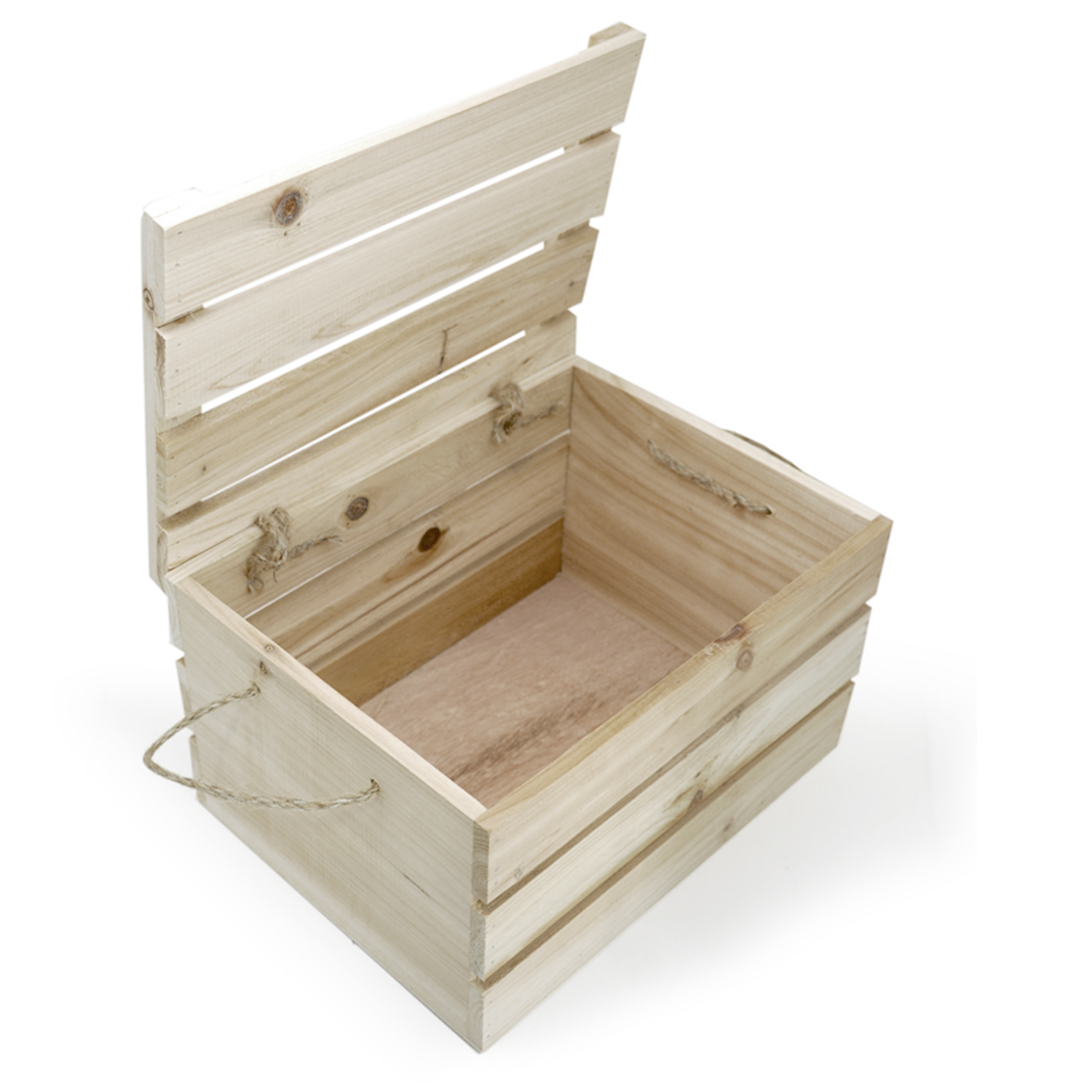 Natural Wooden Crate Storage Box with Lid - Medium 11in