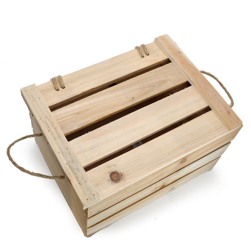 Natural Wooden Storage Box with Lid - Medium The Lucky Clover Trading