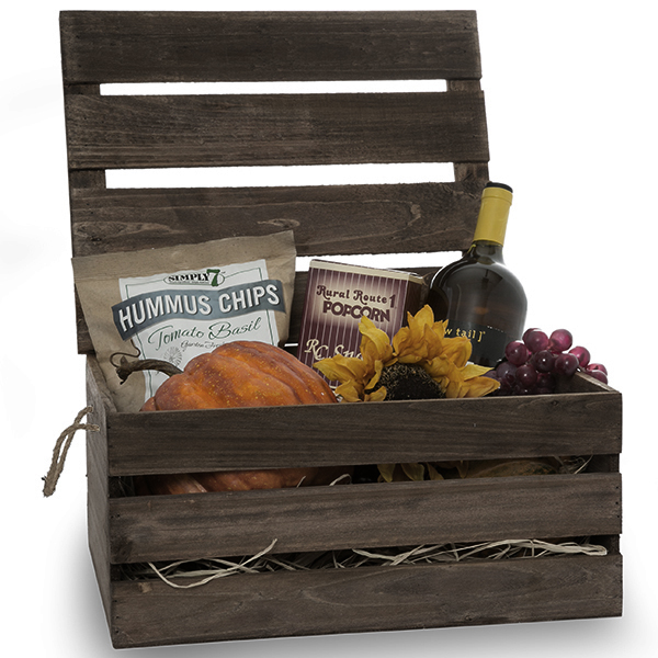 Wooden Crate Storage Box with Lid - Large 15in