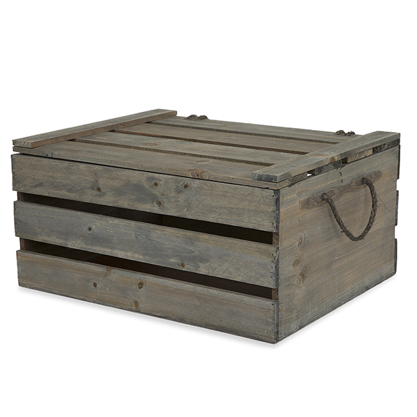 Antique Grey Wooden Crate Storage Box with Lid Large 15in