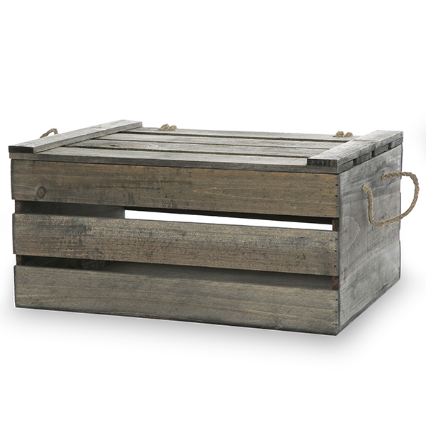 antique grey wooden crate storage box with lid large the lucky clover trading co. Black Bedroom Furniture Sets. Home Design Ideas
