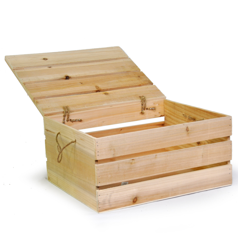 natural wooden storage box with lid large the lucky