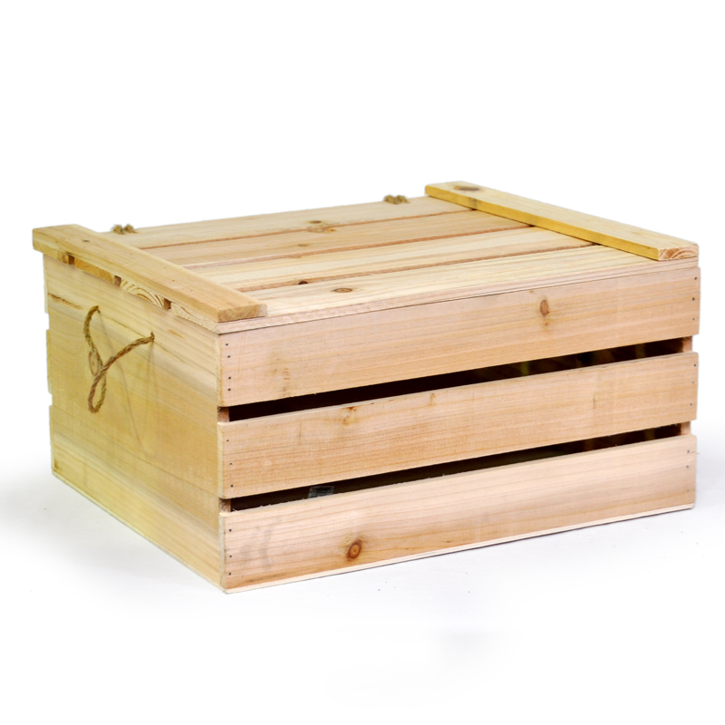 Natural Wooden Crate Storage Box With Lid   Large 15in. Zoom. Thumb Thumb  Thumb ...