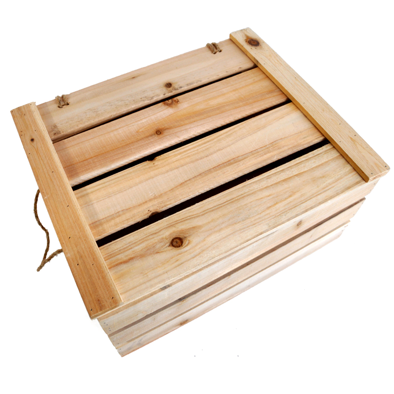 Natural Wooden Storage Box with Lid - Large The Lucky Clover Trading