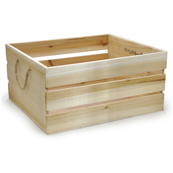 Natural wooden storage box with rope handles the lucky