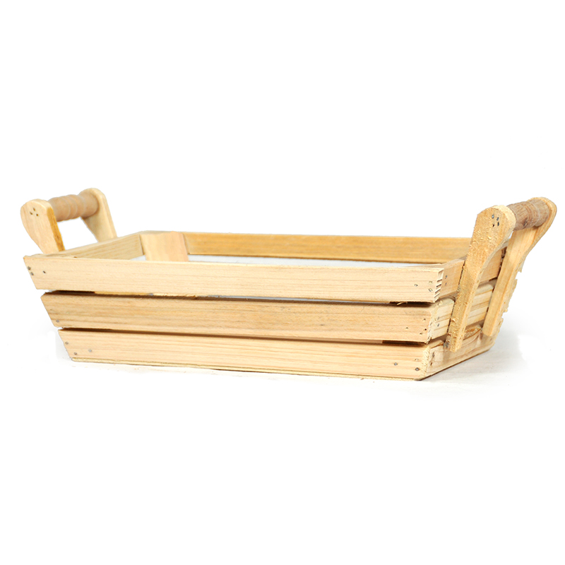 Natural Rectangular Wood Tray with Side Handles - Small 9in